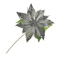 Artificial Glittered Holiday Poinsettia Stem, 15-Inch, Silver