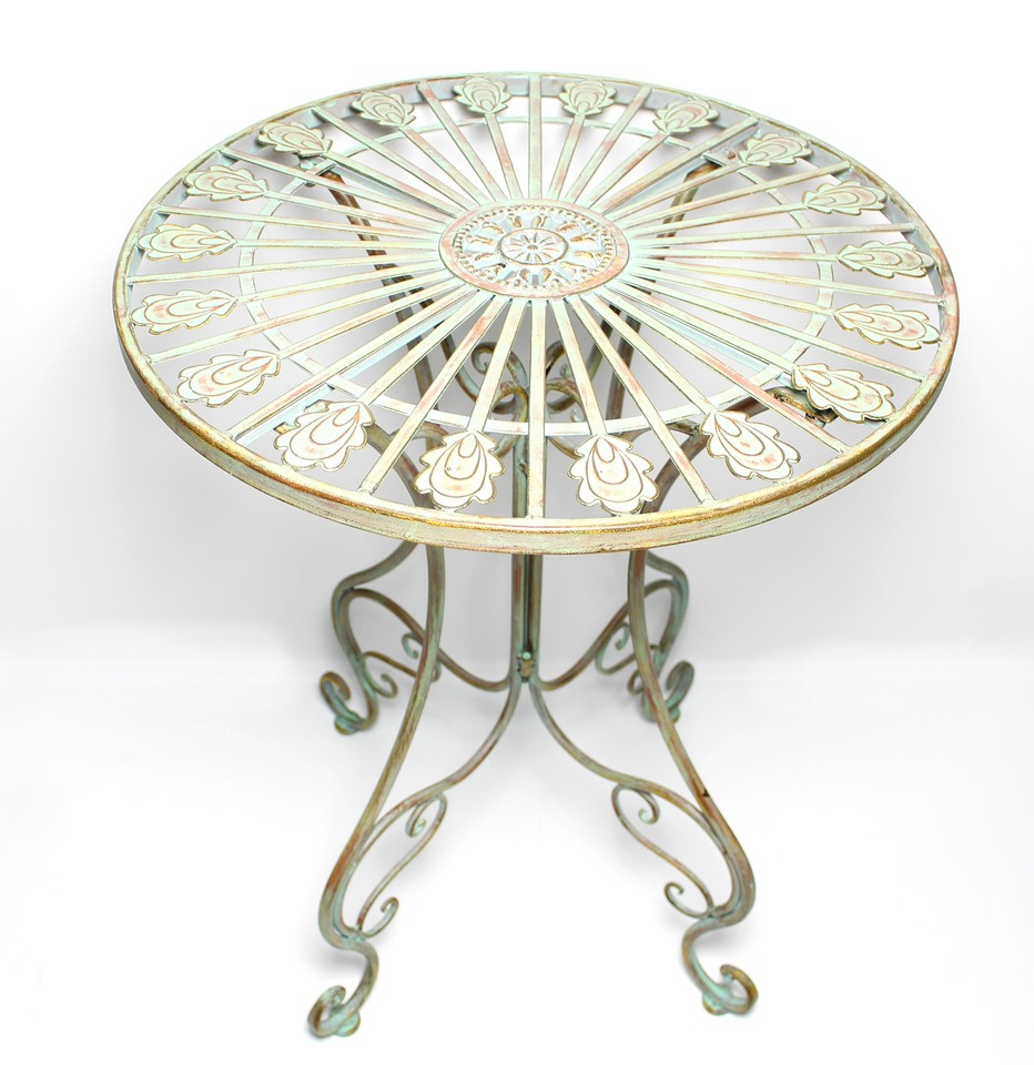 Metal Bistro Table With Curved Legs, Scrolling Heart, Peacock Tail Motif