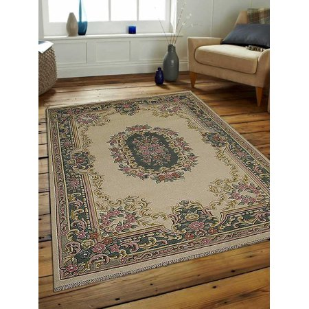 - Rugsotic Carpets Hand Knotted Persian Wool 6'7''x9'10'' Area Rug Oriental Abushan Ivory Green PR0002