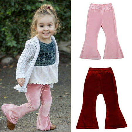 Toddler Baby Girls Bell Bottom Pleuche Pants Kids Long Flare Trousers Clothes (Stretchy Bell Bottom Pants)