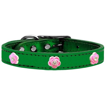 Bright Pink Rose Widget Genuine Metallic Leather Dog Collar Emerald Green 22 (Rosso Leather)