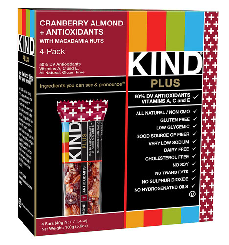 KIND Plus Bars Cranberry Almond + Antioxidants with Macadamia Nuts -- 4 Bars pack of 4