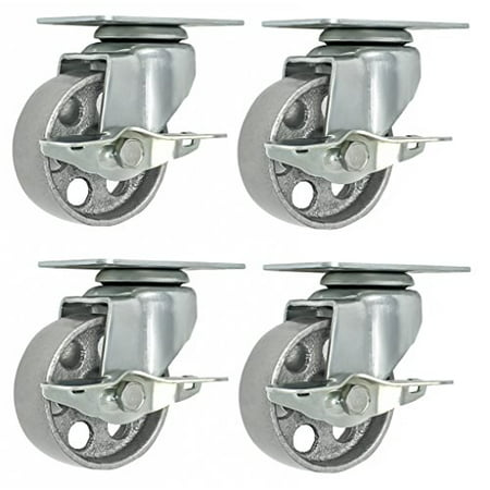 4 All Steel Swivel Plate Caster Wheels w Brake Lock Heavy Duty High-gauge Steel Gray (3