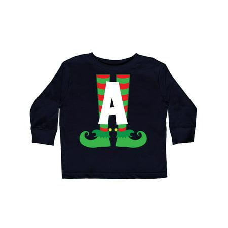 Christmas Elf Feet Letter A Monogram Toddler Long Sleeve T-Shirt - Monogram Kids Clothes