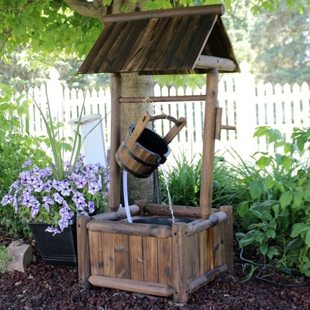 Sunnydaze Rustic Wood Wishing Well Outdoor Fountain with Liner, 46-Inch ()