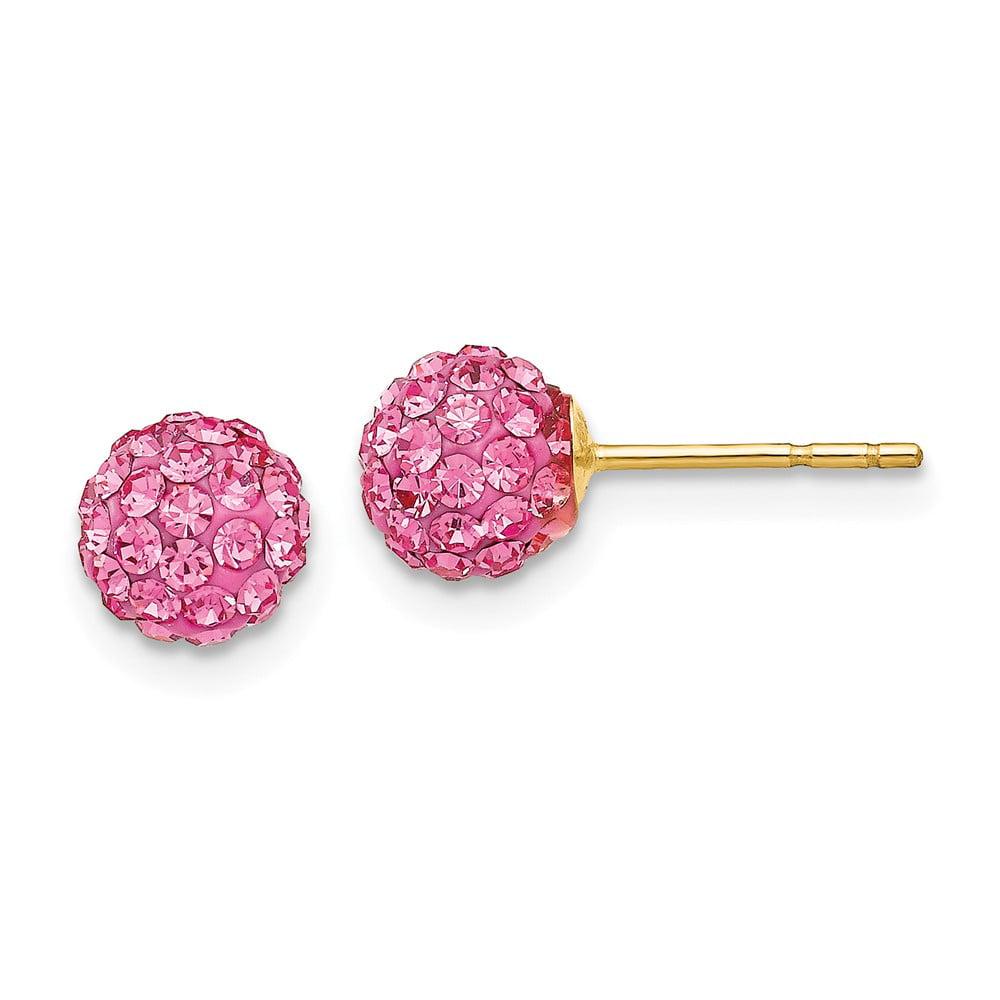 14k Yellow Gold Rose Crystal 6mm Post Stud Earrings.