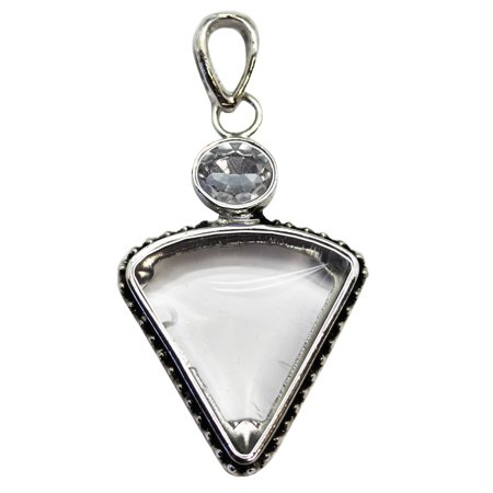 Clear Transparent Faux Curved Edge Triangle Stone Pendant With Dotted Setting