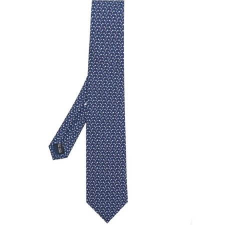 Ferragamo Necktie (Salvatore Ferragamo Men's Navy Blue Lamp Printed Silk Neck Tie )