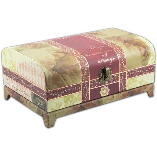 Cottage Garden Belle Papier Vintage Trunk Music Box
