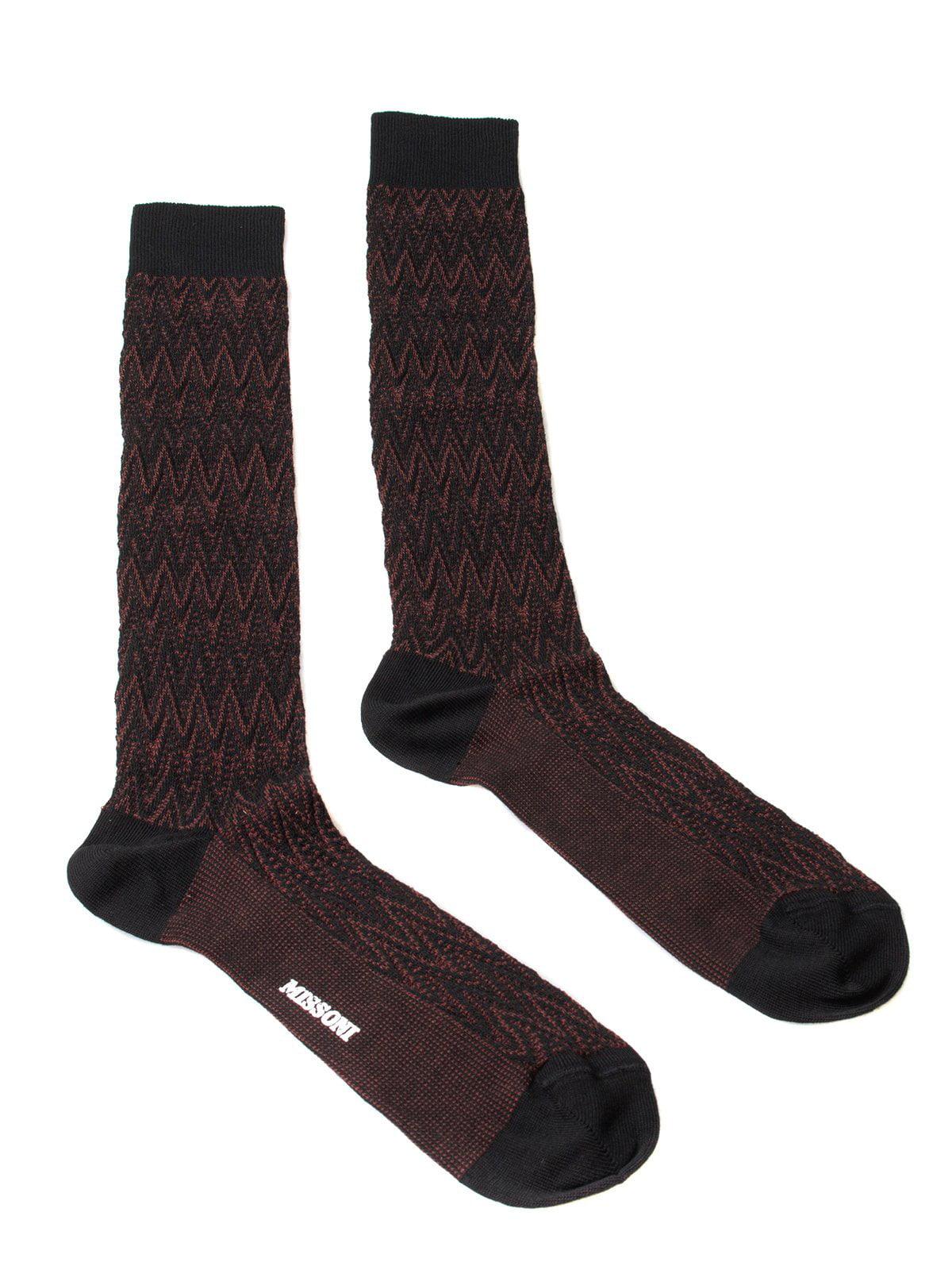 Missoni GM00CMU5239 0001 Maroon/Black Chevron Knee Length Socks