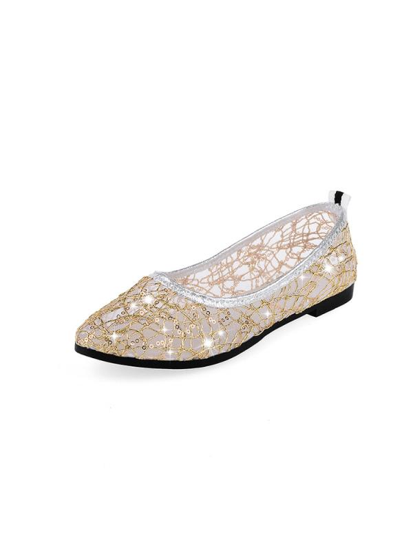 Women's Ballet Flats Summer Flat Single Boat Shoes Mesh Lace Sequins Hollow Flat Sandals