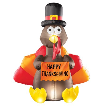 5 Foot Tall Inflatable Turkey Outdoor Thanksgiving Decoration, Lighted, Yard Lawn Garden Art](Thanksgiving Blow Ups)
