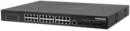 Intellinet 561105 24-Port Gigabit PoE+ Layer2+ Managed Switch 10 GbE Uplink by IC INTRACOM