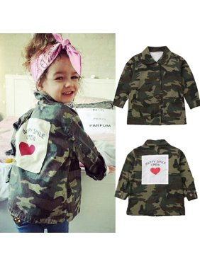 Kids Baby Girls Camo Wind Outwear Coat Autumn Winter Jacket Clothes Age 2-8 Years