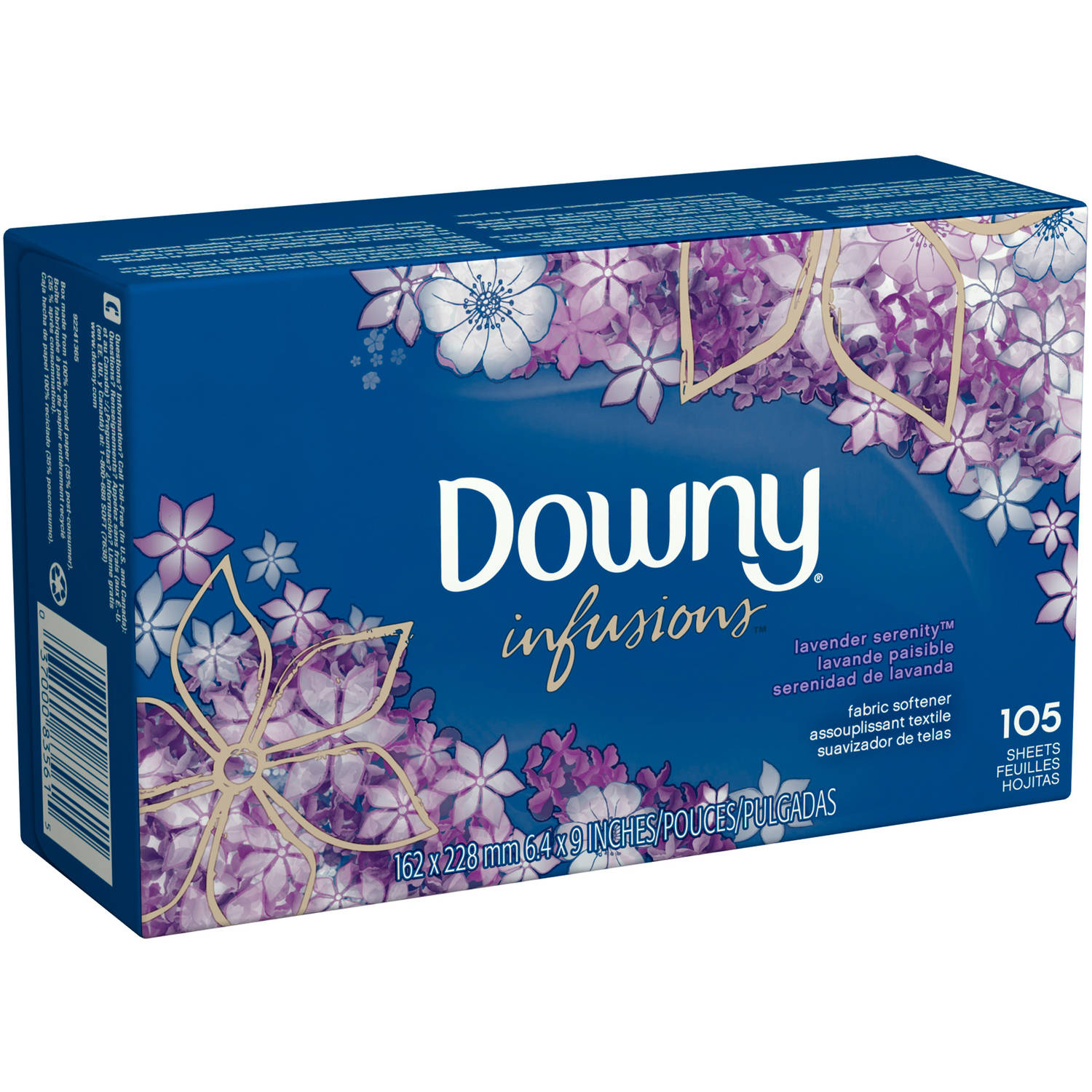 Ultra Downy Infusions Lavender Serenity Fabric Softener Sheets, 105 sheets