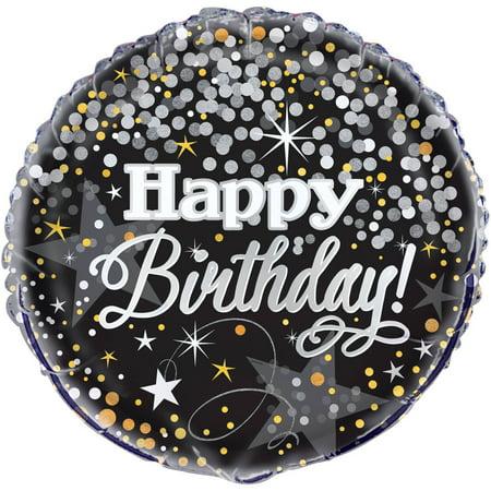 "18"" Foil Silver Glittering Birthday Balloon"