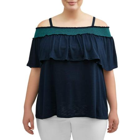 Off Shoulder Smock - Women's Plus Size Smocked Off Shoulder Blouse with Ruffles