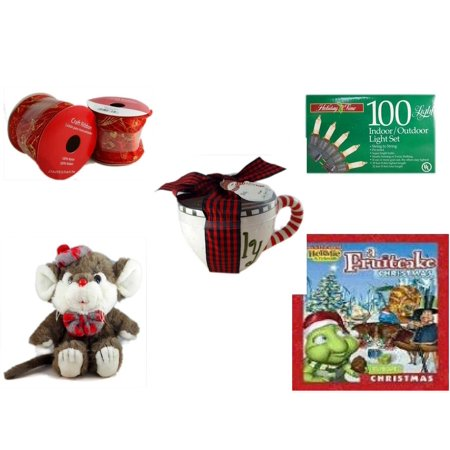 Christmas Fun Gift Bundle [5 Piece] - 2 Rolls Red and Gold Craft Ribbon 2.5 in. x 9 ft. -  Time 100 Light Indoor/Outdoor Light Set - Lady Jane Ltd.  Latte Gift Mug -  Beret & Bowtie Mouse  10