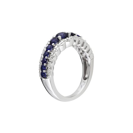 Created Blue Sapphire Ring 1.15 Carat (ctw) in Sterling Silver - image 1 of 3