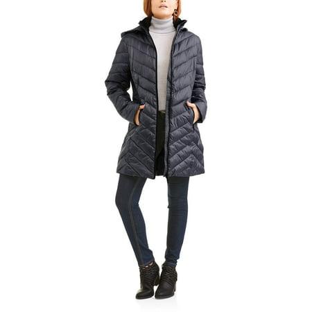 Women's Long Chevron-Quilt Hooded Down Blend Coat