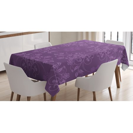 Eggplant Tablecloth, Gorgeous Well-Formed Flowers on Purple Background Damask Floral Arrangement Ornament, Rectangular Table Cover for Dining Room Kitchen, 60 X 84 Inches, Violet, by Ambesonne ()