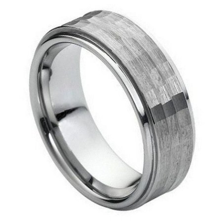 3.25 Mm Hammered Band - 9mm - For Men or ladies Stepped Edge With Hammered Center Tungsten Carbide Wedding Band Ring
