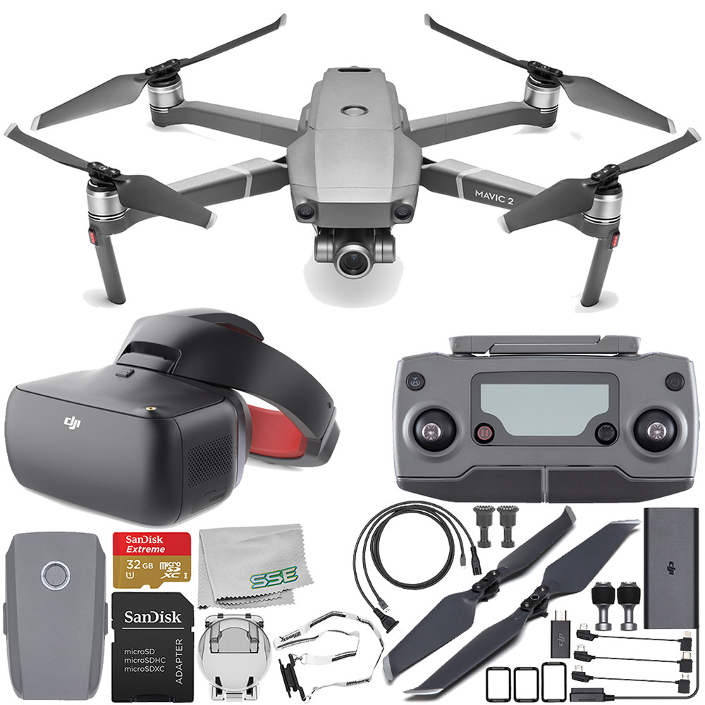 DJI Mavic 2 Zoom Drone Quadcopter with 24-48mm Optical Zoom Camera with DJI Goggles Racing Edition Starter Bundle