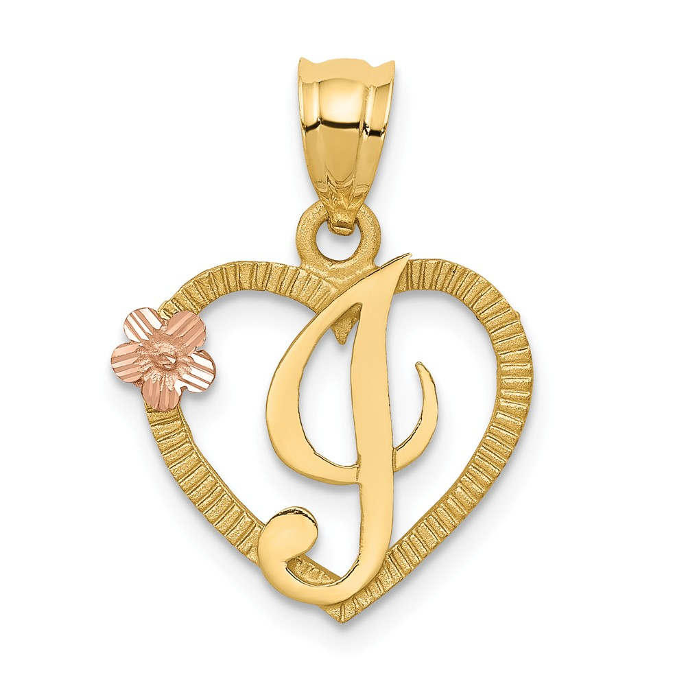14k Two Tone Gold Initial I in Heart Charm Pendant