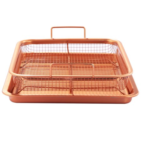 Crisper Tray Set Non Stick Cookie Sheet Tray Air Fry Pan Grill Basket Oven Dishwasher Safe Oil (Frozen French Fry Sheet)