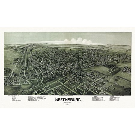 Antique Map of Greensburg Pennsylvania 1901 Westmoreland County Poster Print