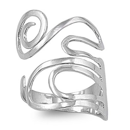 Flexible Adjustable Swirl Thumb Ring ( Sizes 4 5 6 7 8 9 10 ) New .925 Sterling Silver Band Rings by Sac Silver (Size 9)