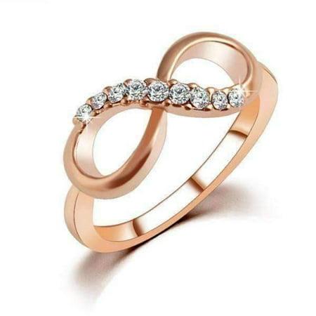 ON SALE - Endless Light Pavé CZ Rose Gold Infinity Symbol Ring Clear / 5.75