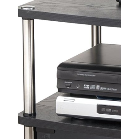 TV Stand With Glass Doors Cabinet for Flat Panel TV's up to 25-Inch or 50-Pounds