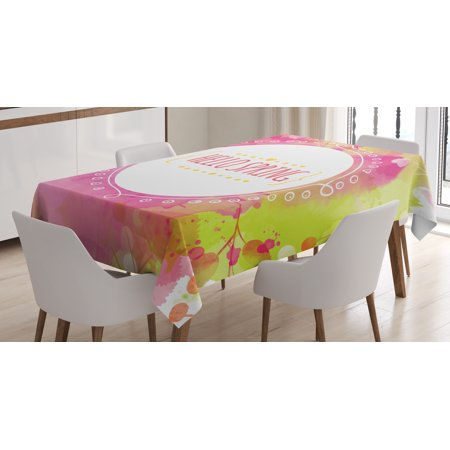 Dining Room Round Table (Hello Tablecloth, Watercolor Background with Berry and Leaf Traces in Pastel Colors Round White Frame, Rectangular Table Cover for Dining Room Kitchen, 60 X 90 Inches, Multicolor, by Ambesonne )