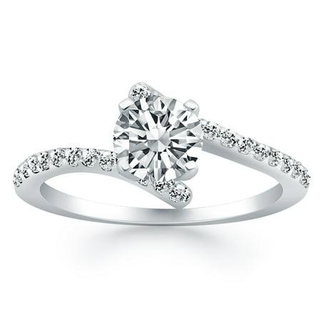 14k White Gold Open Shank Bypass Diamond Engagement Ring - image 1 of 2