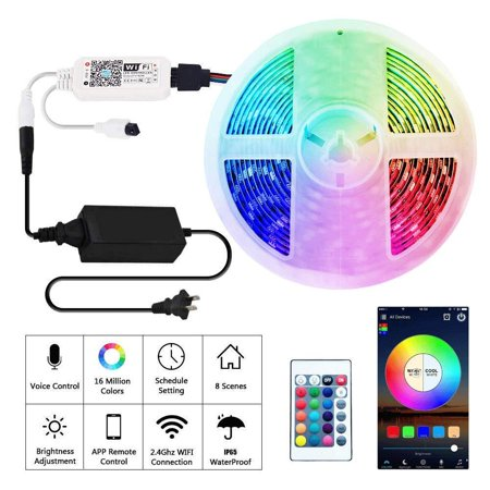 Rusunde LED Strip Lights WiFi Wireless Smart Phone APP Controlled Waterproof Light Strip Kit 5050 LED Lights Sync to Music,Compatible with Alexa,Google Home,IFTTT (Best Music App For Alexa)
