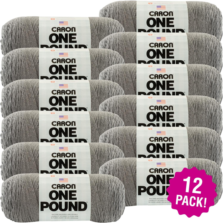 Caron One Pound Yarn - Medium Grey Mix, Multipack of 12