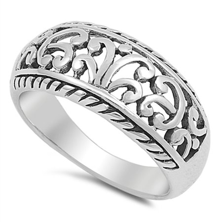 - Wide Filigree Floral Oxidized Vintage Ring .925 Sterling Silver Band Size 7