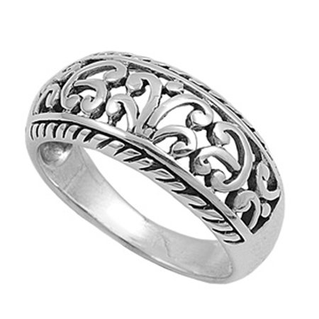 - Wide Filigree Floral Oxidized Vintage Ring ( Sizes 4 5 6 7 8 9 10 11 ) .925 Sterling Silver Band Rings by Sac Silver (Size 7)