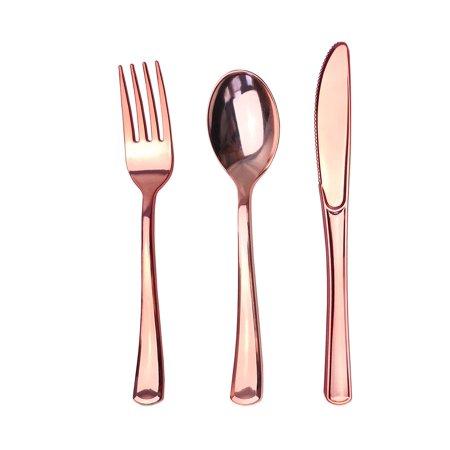 JL Prime 120 Rose Gold Plastic Silverware Set, Rose Gold Plastic Cutlery Set, Heavy Duty Utensils, Disposable Rose Gold Flatware, 40 Plastic Forks, 40 Plastic Spoons, 40 Plastic Knives ()