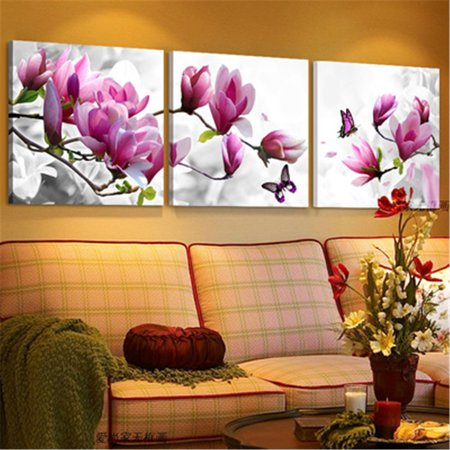 Clearance 3 Panel Flower Wall Art Oil Painting Giclee Landscape Canvas Prints for Home Decorations Framed