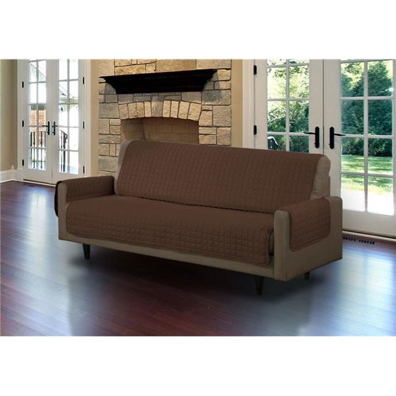 Quilted Micro Suede Sofa Pet Protector, Brown