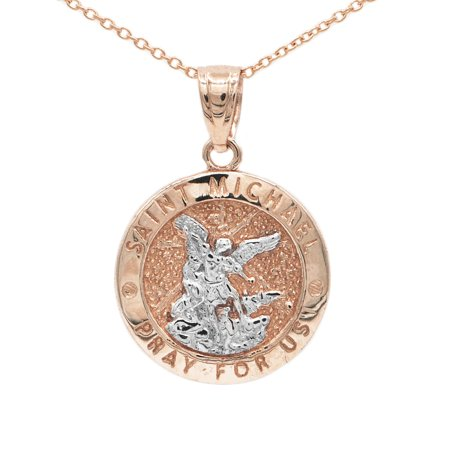 10k Rose Gold Two Tone Dainty Round Saint Michael Medallion Necklace (No Chain)