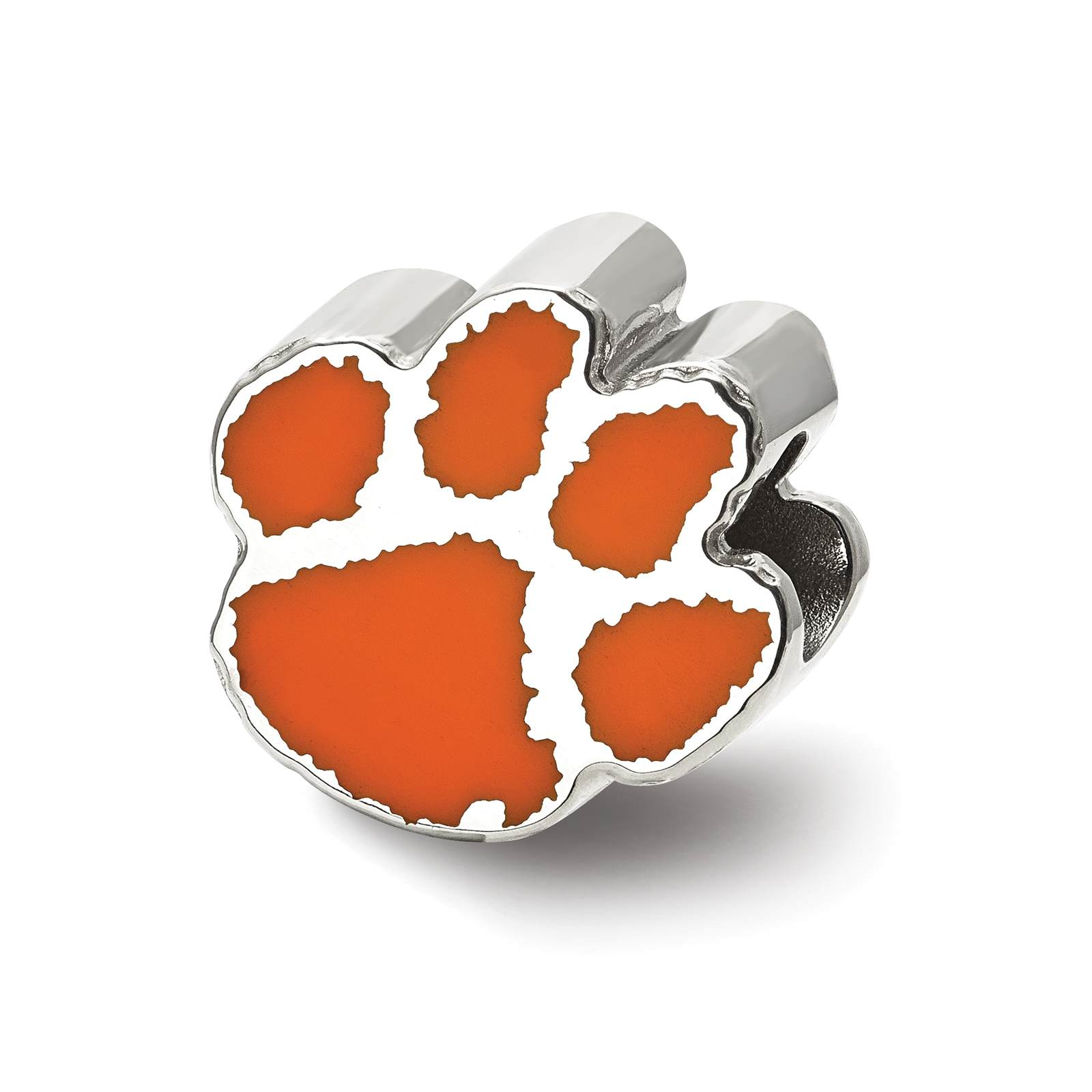 925 Silver Rhodium-plated Laser-cut Clemson University Enameled Logo Bead Charm