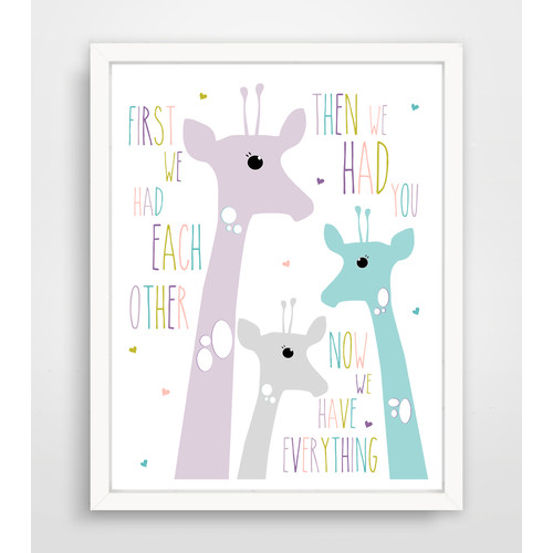 Finny and Zook First We Had Each Other Purple Giraffe Paper Print