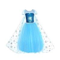 Girls Snow Queen Frozen Costume for Girls Princess Dress Anna Elsa Dress for Kids