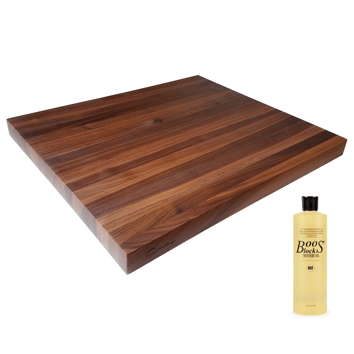 "HomeProShops Wood Butcher Block Cutting Board - 1-1/2"" x 18"" x 21"" - w John Boos MYSB Mystery Oil 16 oz Bottle Included - Solid Walnut Reversible"