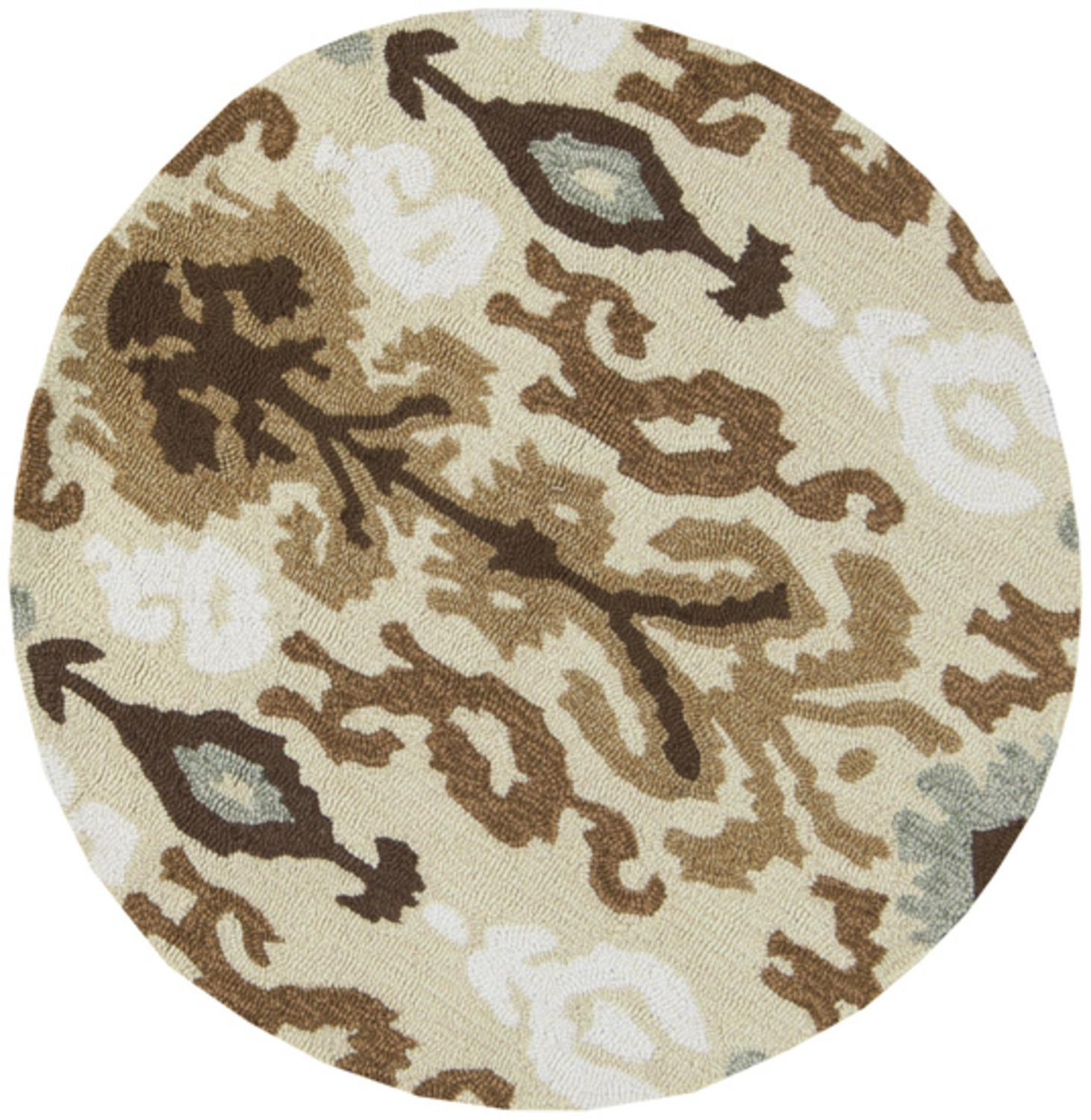 3' Calcutta Light Green and Dark Taupe Hand Hooked Round Area Throw Rug