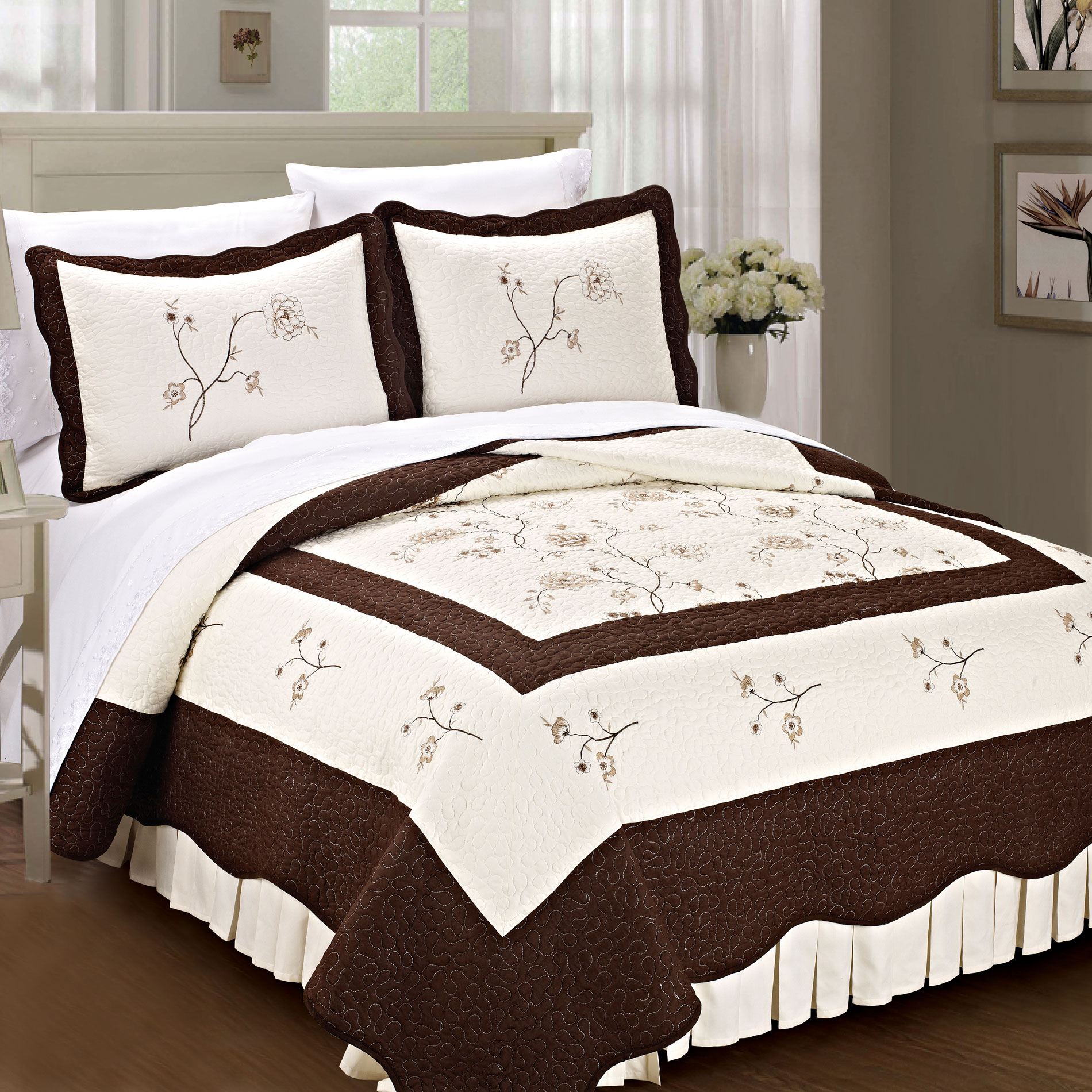 Serenta Spring Flowers Classic 3 Piece 100% Cotton Quilted Coverlet Bed Spread Set