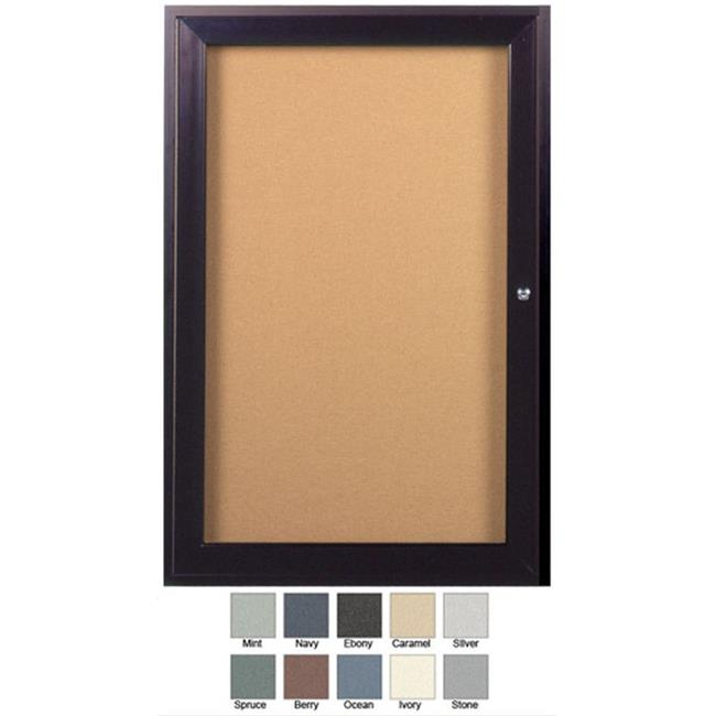 Ghent Ghent 1 Door Enclosed Vinyl Bulletin Board with Satin Frame